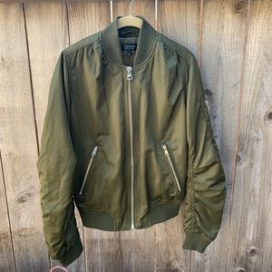 Topshop Satin Puffer Bomber Army Green Jacket
